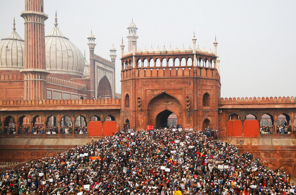People gather for a protest against the Citizenship Amendment Act after Friday prayers outside the Jama Masjid in New Delhi, Friday, December 20, 2019.
