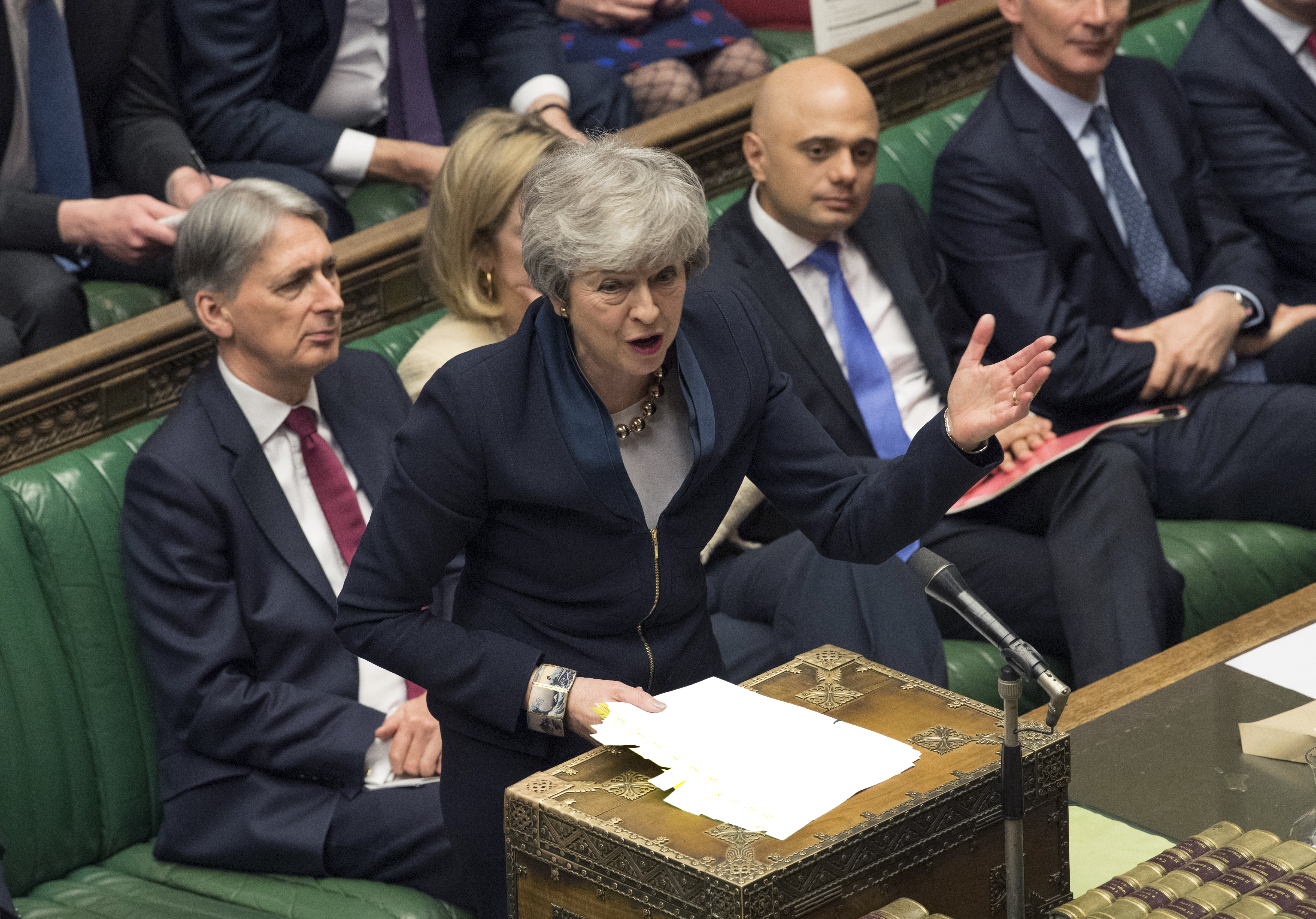 Britain's Prime Minister Theresa May addresses MP's in the Palace of Westminster in London on Wednesday, April 3, 2019