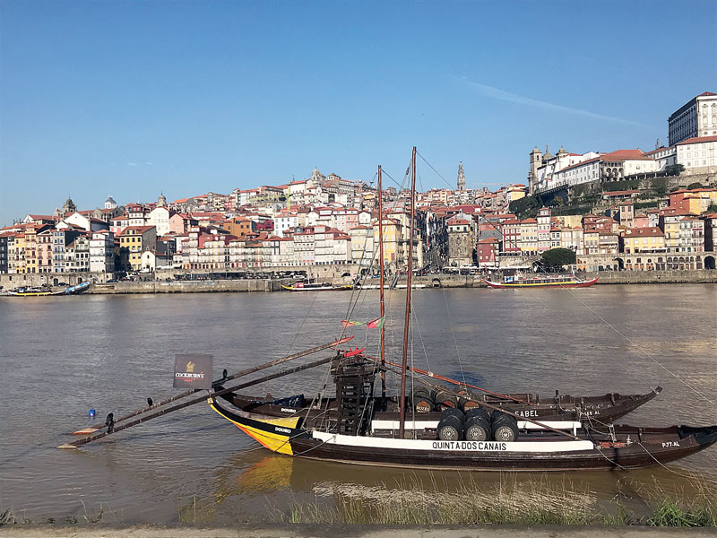 These old-fashioned boats are still used to transport barrels of port wine. The city of Porto is in the background