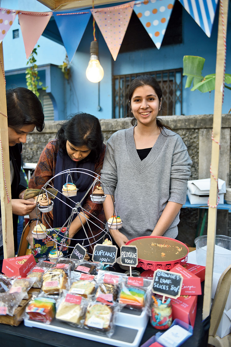 "Khadija Mallick's journey started four years ago with a cake made with a cake mix. ""After getting great feedback I turned to YouTube as my guide and while doing my Bachelors in 2015, Sweet Escape was born. With my mother being the strongest pillar of support, we wanted to make our presence felt. We started taking up stalls at various youth-based festivals and flea markets. Our main aim was to make dessert fun, portable and easy to eat and cupcakes became our canvas of art. In 2017 I booked my seat for a nine-month Advanced Diploma Course at Academy of Pastry Arts, Bangalore, and then took a three-month internship with The Westin. Sweet Escape is now coming back into the groove and at the Kolkata Arts Lane Festival, I sold three-fourth of my sweet treats,"" said Khadija."
