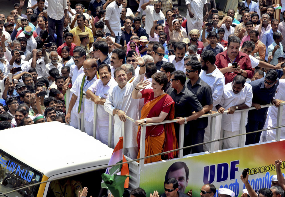 Congress party president Rahul Gandhi, accompanied by his sister Priyanka Gandhi Vadra, returns after filing his nomination for the Wayanad Lok Sabha constituency in Kerala on Thursday, April 4, 2019
