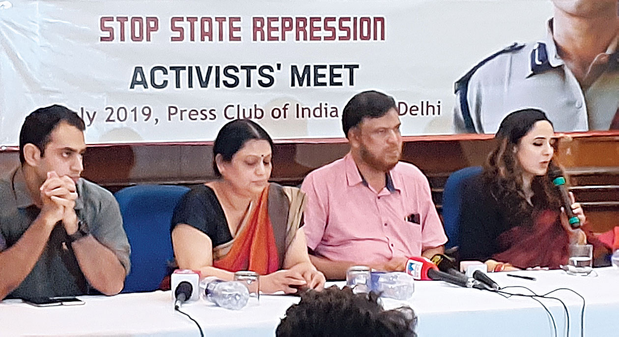 (From left) Sanjiv Bhatt's son Shantanu, wife Sweta, National Confederation of Human Rights Organisations vice-president KP Muhammed Shareef and lawyer Deepika Rajawat at the news conference in New Delhi on Sunday.