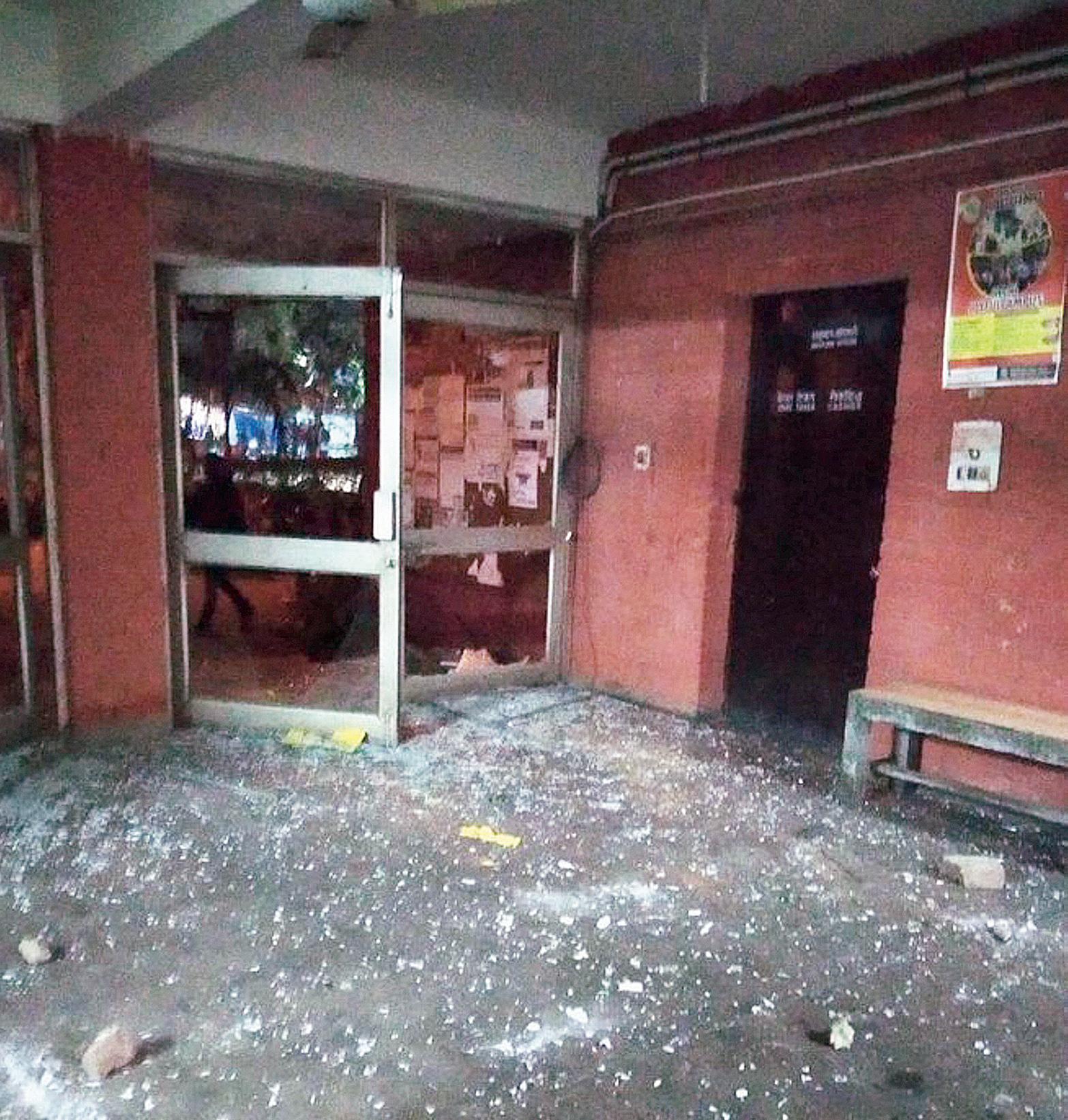 The vandalised JNU campus on Sunday.