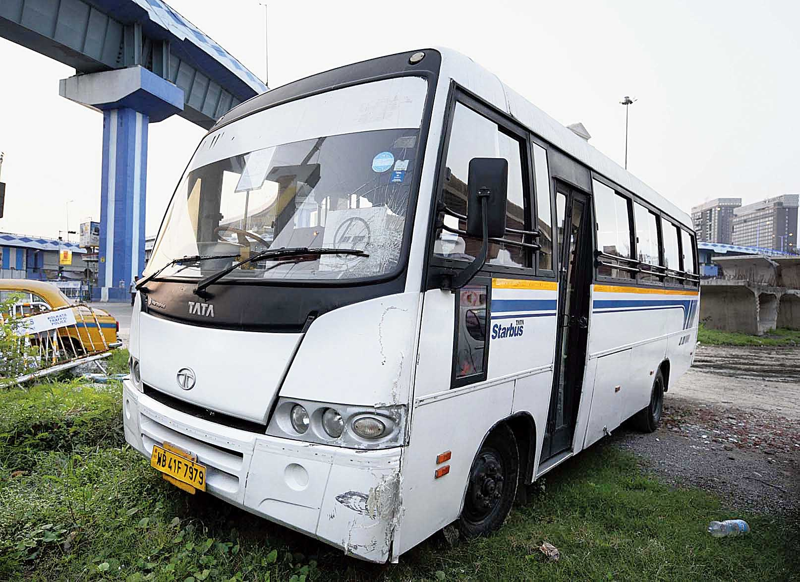 The bus that hit the couple's bike at Science City crossing.
