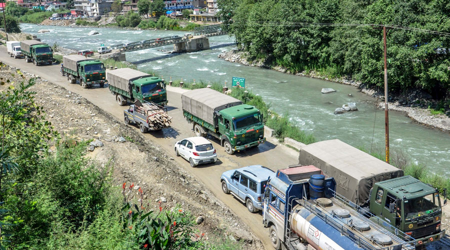 Army trucks move towards Ladakh amid LAC border tension, at Manali-Leh highway in Kullu on Friday, July 31, 2020.