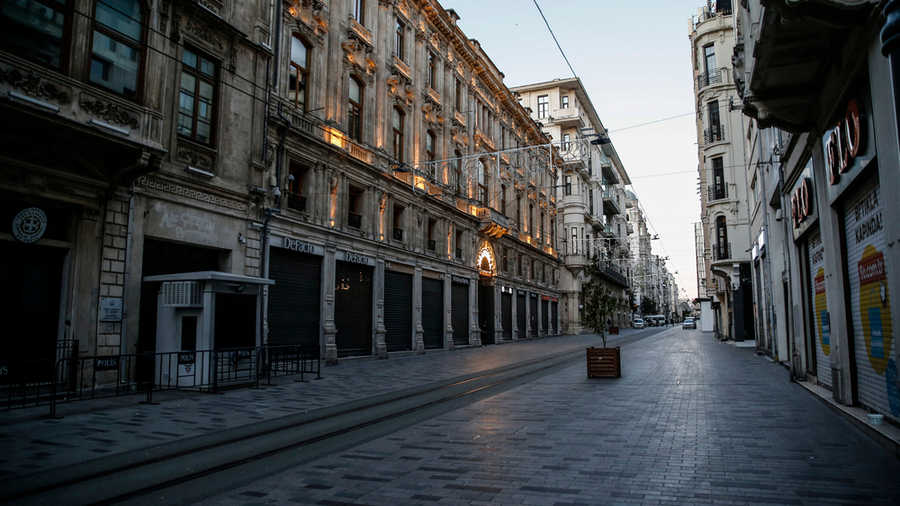 Deserted Istiklal street at Taksim district in Istanbul, during a two-day curfew to prevent the spread of Covid-19, April, 2020.