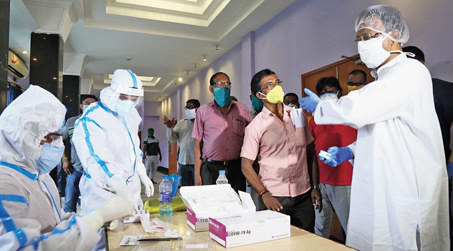 The rapid antigen test centre at Chetla Ahindra Mancha.