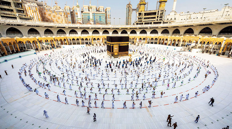 Pilgrims circumambulating the Kaaba, Islam's holiest shrine, at the centre of the Grand Mosque in the holy city of Mecca in Saudi Arabia on Friday.
