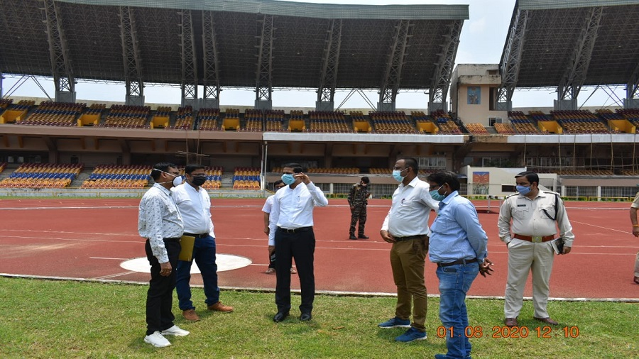 Officials of the district administration inspect Birsa Munda Football Stadium in Ranchi on Saturday as a possible venue for this year's Independence Day function