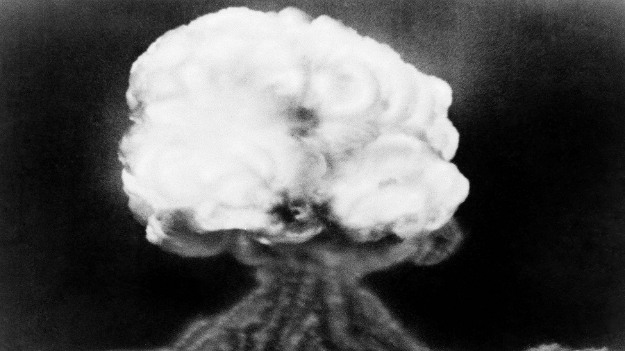 This July 16, 1945, file photo, shows the mushroom cloud of the first atomic explosion at Trinity Test Site near Alamagordo, N.M. A visit by The head of the National Nuclear Security Administration, Lisa Gordon-Hagerty coincides with the 75th anniversary of the Trinity Test in southern New Mexico, which marked the world's first atomic blast on July 16, 1945. She's scheduled to lead a commemoration Thursday, July 16, 2020, at the historic V-Site at Los Alamos National Laboratory, where early testing and some assembly of the atomic bomb took place