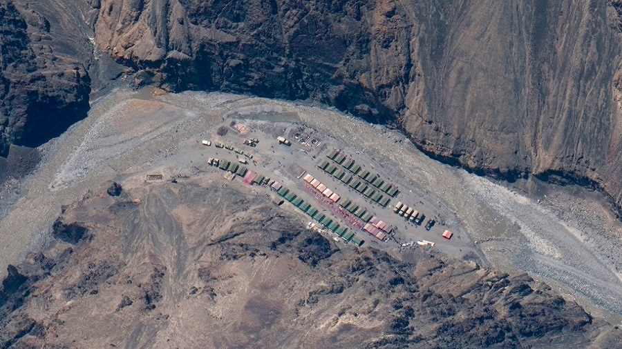 This May 22, 2020, satellite image provided by Maxar Technologies shows China's People's Liberation Army base in the Galwan Valley in Line of Actual Control, the border between India and China.