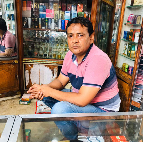 Aftab Ahmed at his perfume shop on Chitpore Road