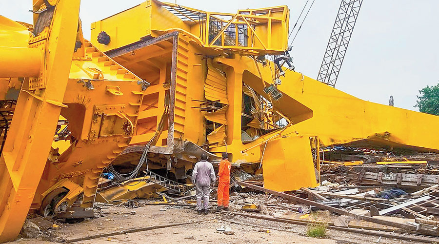 The crane that collapsed at the HSL in Visakhapatnam on Saturday.
