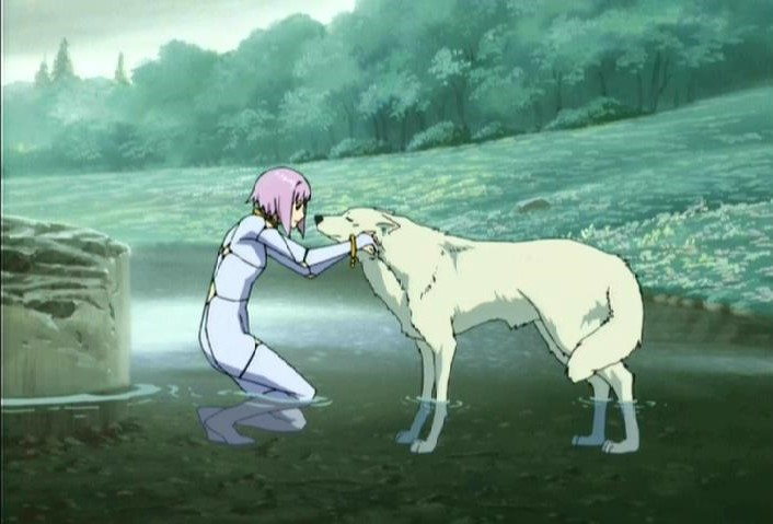 Cheza, the lunar flower personified, greets lone wolf Kiba on their quest to Paradise
