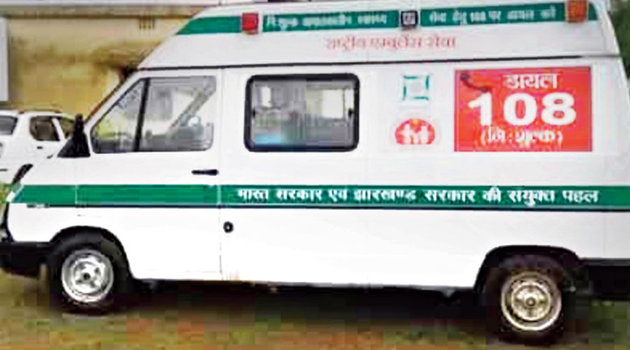 The 108 ambulance at Bengabad community health centre in Giridih on Monday.