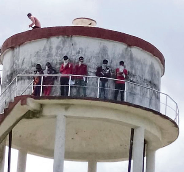 Students on top of the tank