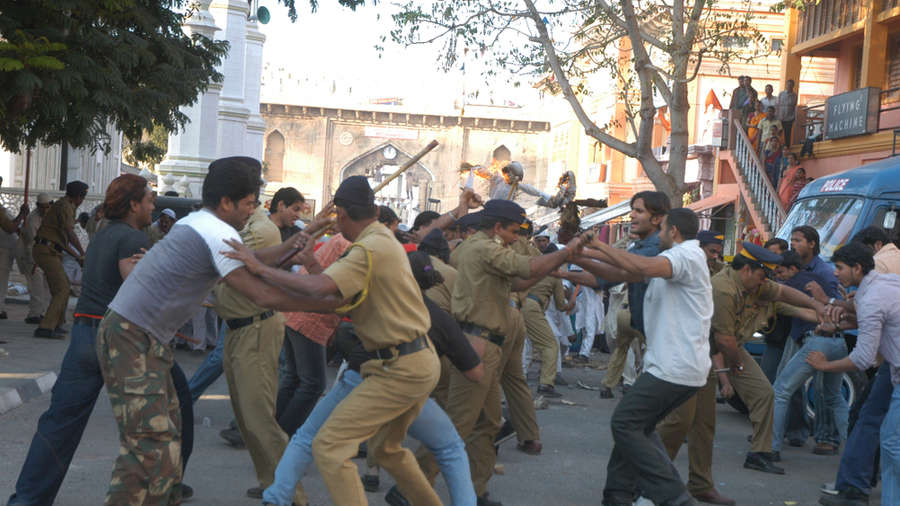 Police officers clash with public on 25 November, 2018, in Hyderabad. (Image used for representational purpose)