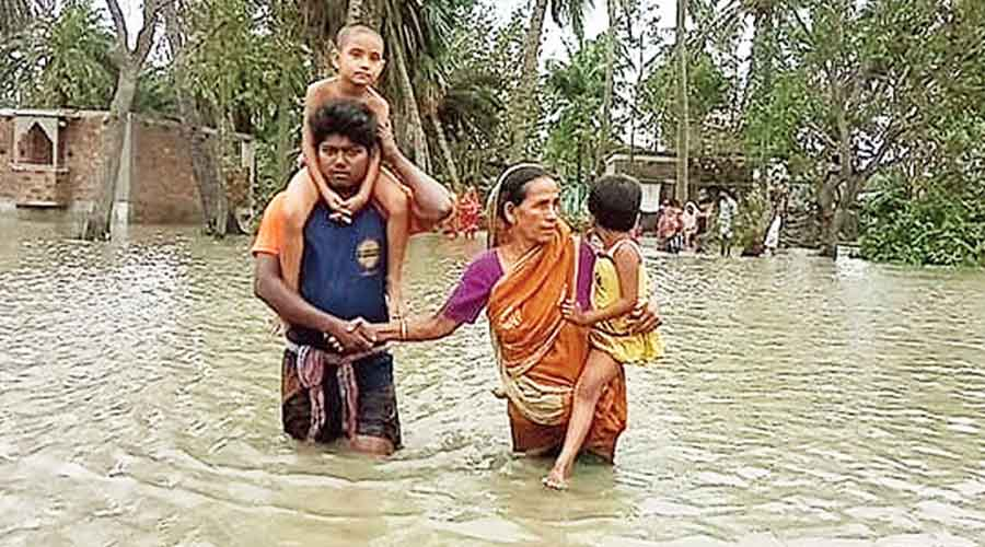 A village flooded by Cyclone Amphan in the Sunderbans in May.
