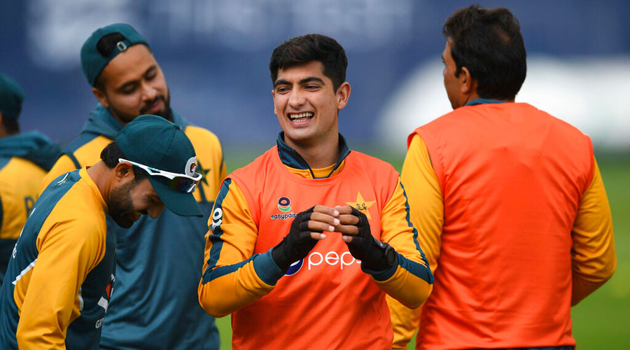 Nasim Shah of Pakistan reacts during a nets session at Old Trafford in Manchester, England on Monday.