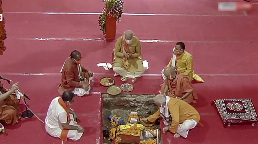 Prime Minister Narendra Modi performs the 'bhoomi pujan' of a Supreme Court-mandated Ram temple in Ayodhya on Wednesday , bringing to fruition the BJP's 'mandir' movement that defined its politics for three decades and took it to the heights of power.  RSS chief Mohan Bhagwat and Uttar Pradesh Chief Minister Yogi Adityanath were among those who attended the event at the site where a large number of devout Hindus believe Lord Ram was born.