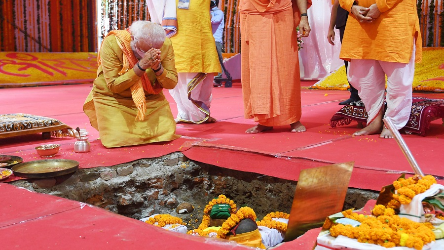 Prime Minister Narendra Modi in Ayodhya on Wednesday