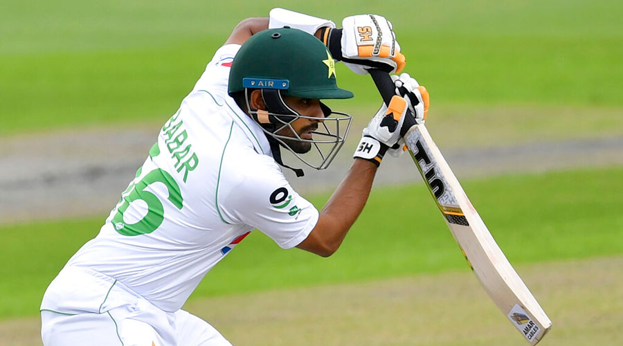 Babar Azam bats during the first day of the Test between England and Pakistan at Old Trafford in Manchester on Wednesday.