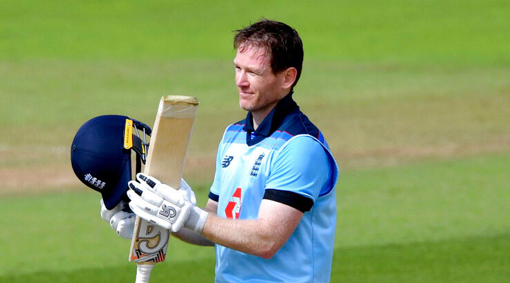 Eoin Morgan celebrates reaching his century against Ireland during the third One Day International, ODI, cricket match at the Ageas Bowl in Southampton, England on Tuesday
