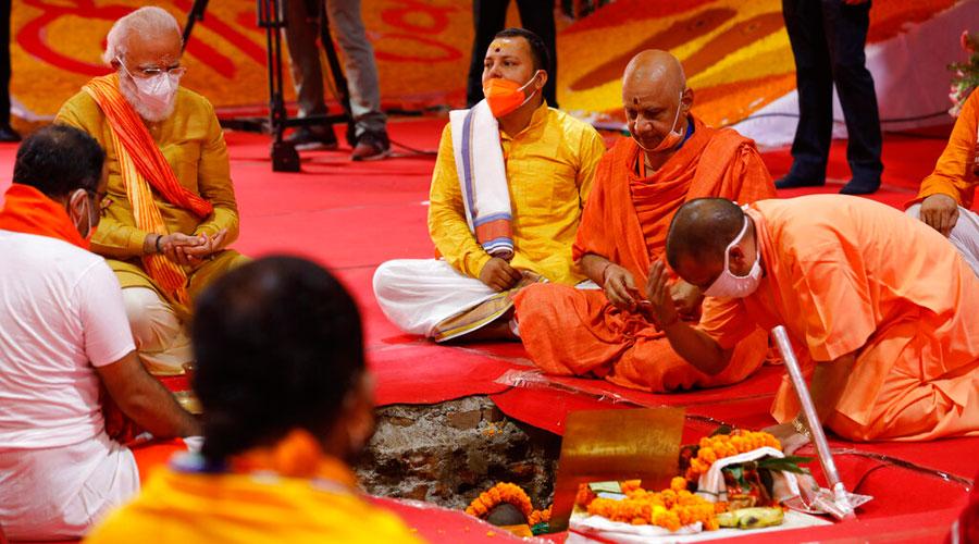 Uttar Pradesh chief minister Yogi Adityanath with Prime Minister Narendra Modi during the ground-breaking ceremony in Ayodhya on Wednesday