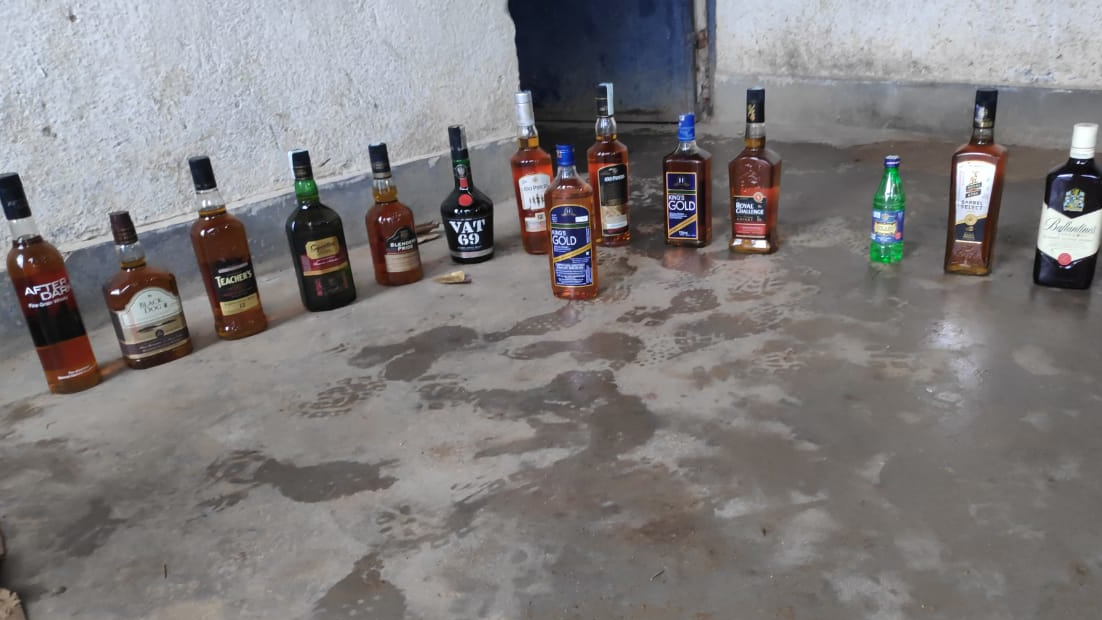 Some of the brands of liquor that were seized by police from Pithoria, Ranchi, on Thursday.
