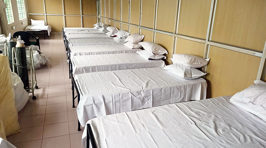 Beds placed inside the male ward