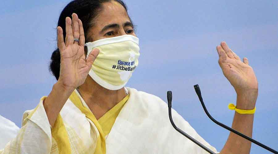 West Bengal CM Mamata Banerjee at a news conference, at Nabanna Sabhaghar, in Calcutta, Thursday, Aug 6, 2020.