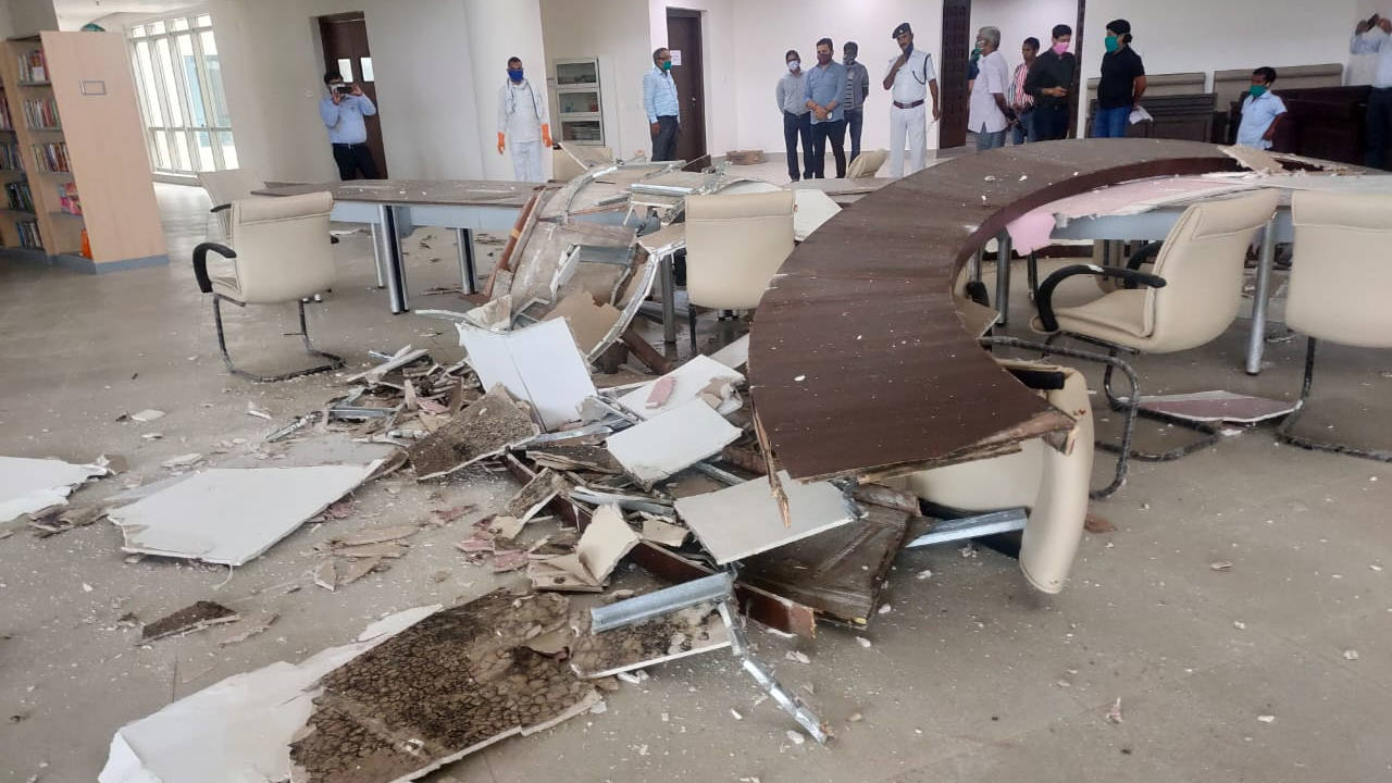 Broken table and scattered false ceiling roof at the library building of newly-constructed Jharkhand Vidhan Sabha on Friday.