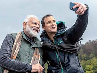 Bear Grylls with Prime Minister Narendra Modi