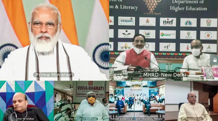 Prime Minister Narendra Modi attends the higher education conclave via videoconference  in New Delhi on Friday.