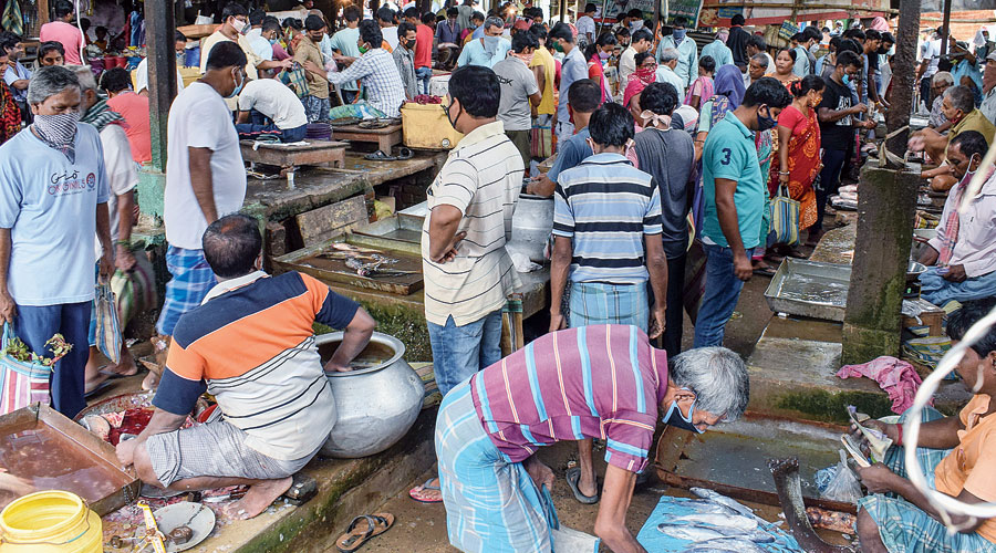 A crowded market in Santipur  on Thursday