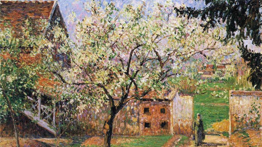 Flowering Plum Tree, Eragny, by Camille Pissarro.