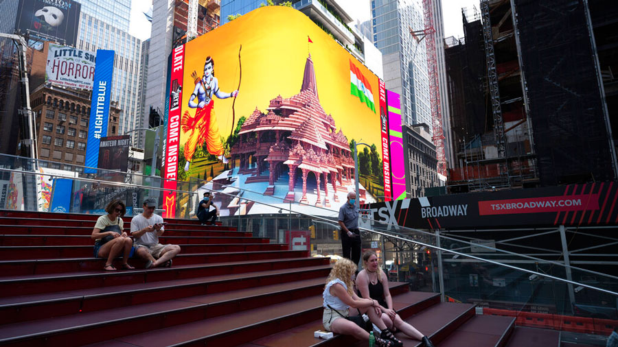 Imagery of the Hindu deity Ram and 3D portraits of the proposed Hindu temple displayed on a digital billboard, New York, Aug. 5, 2020.