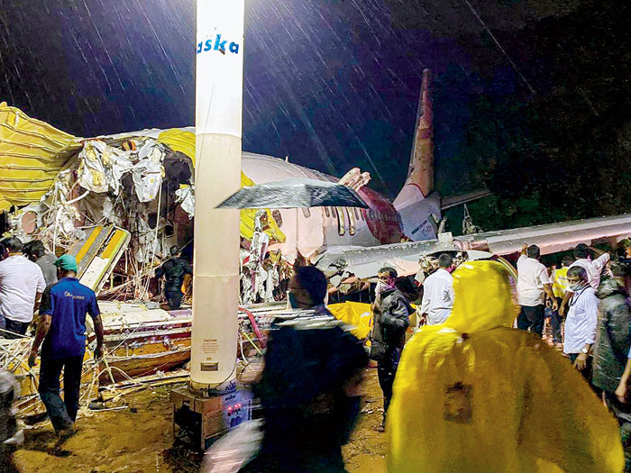 The Air India Express flight after crash-landing at Calicut International Airport on Friday.