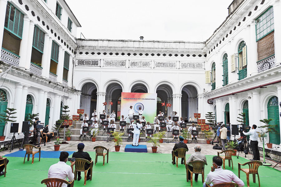 Concert: An army band performs ahead of Independence Day at the Jorasanko Thakurbari on Friday afternoon.
