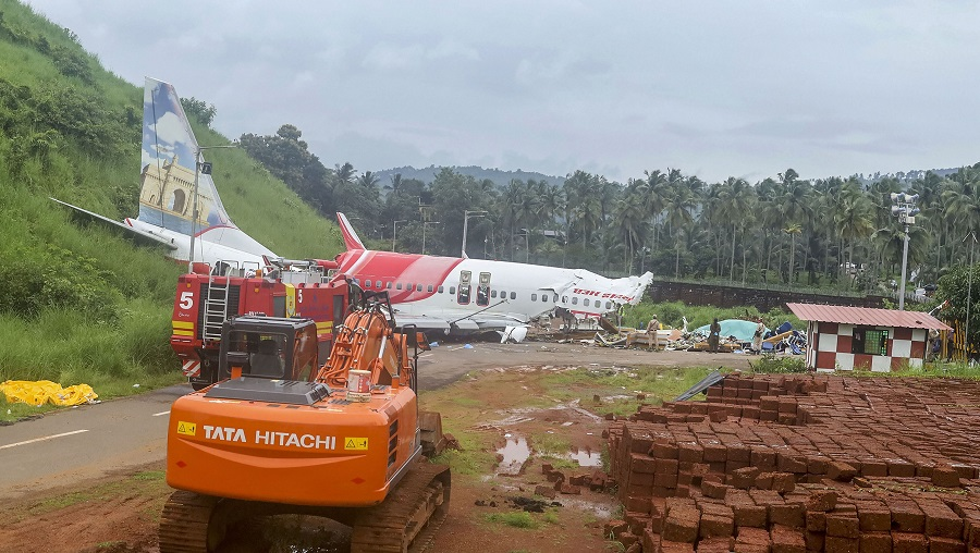 Mangled remains of the Air India Express flight.