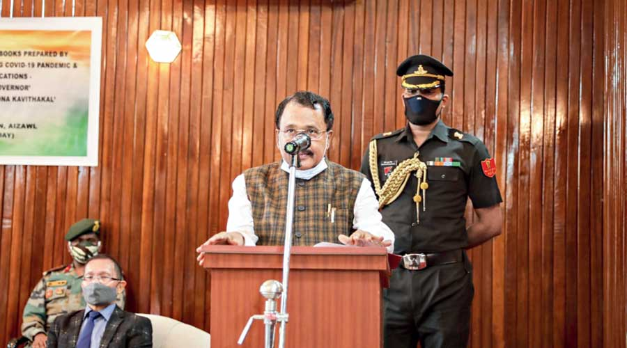 Mizoram governor PS Sreedharan Pillai at the book release at Raj Bhavan on Saturday.