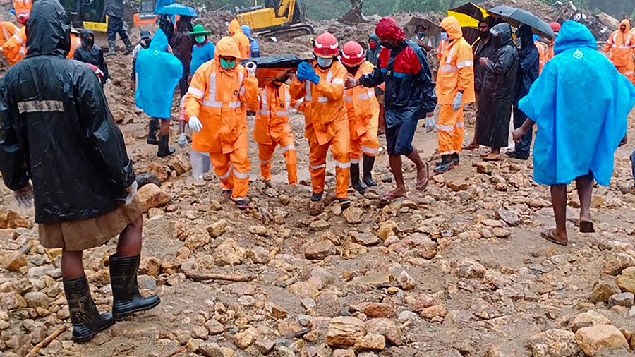 National Disaster Response Force conducts rescue operation in Munnar on Sunday