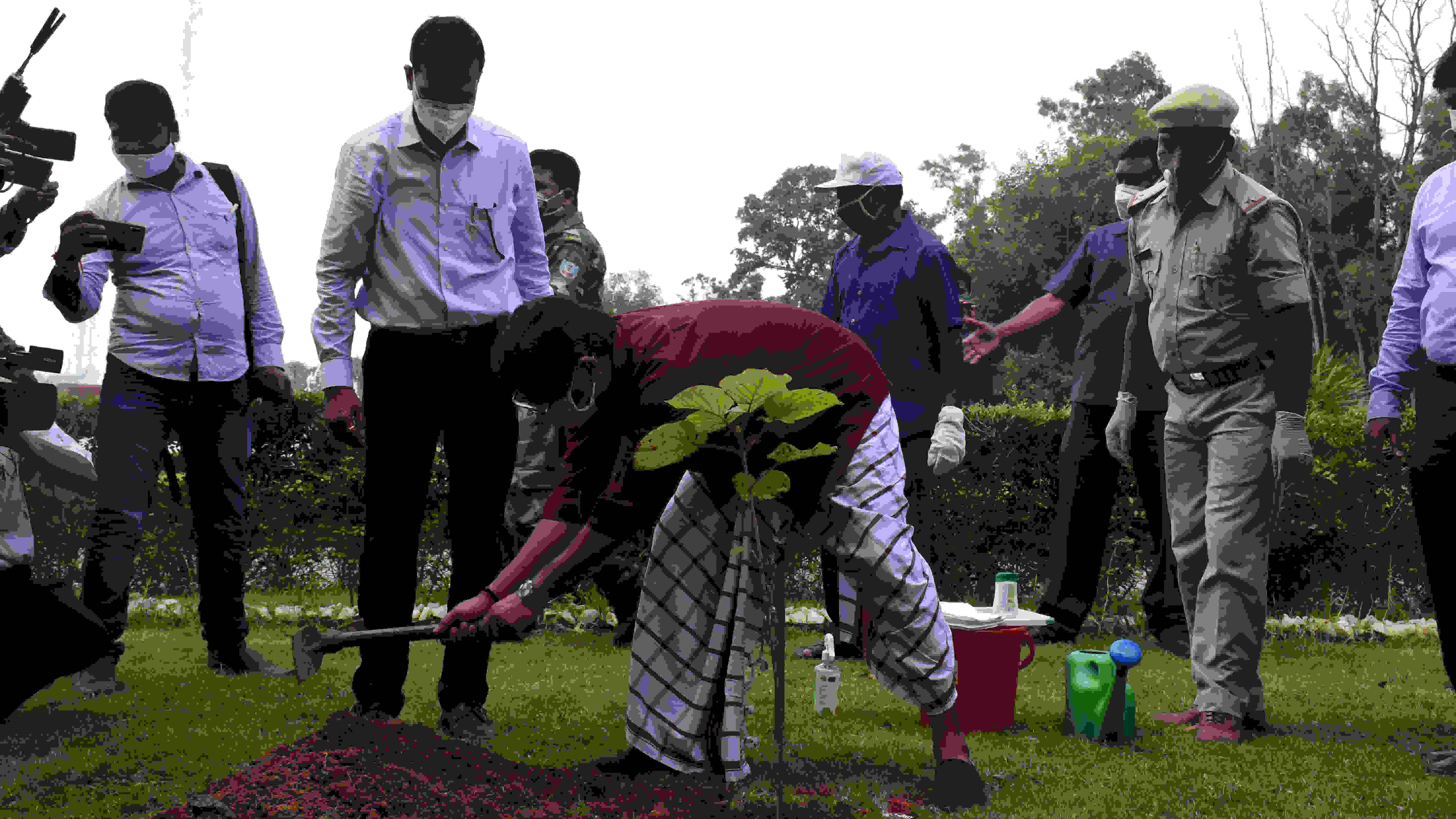Chief minister Hemant Soren plants a sapling in Ranchi on Sunday.
