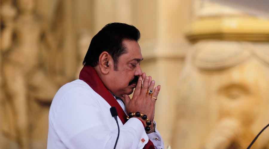 Mahinda Rajapaksa before being sworn in as prime minister in Colombo on Sunday