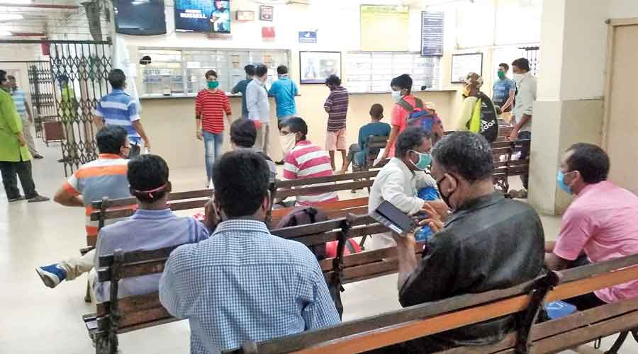 People wait for blood at Central Blood Bank in Maniktala on Sunday