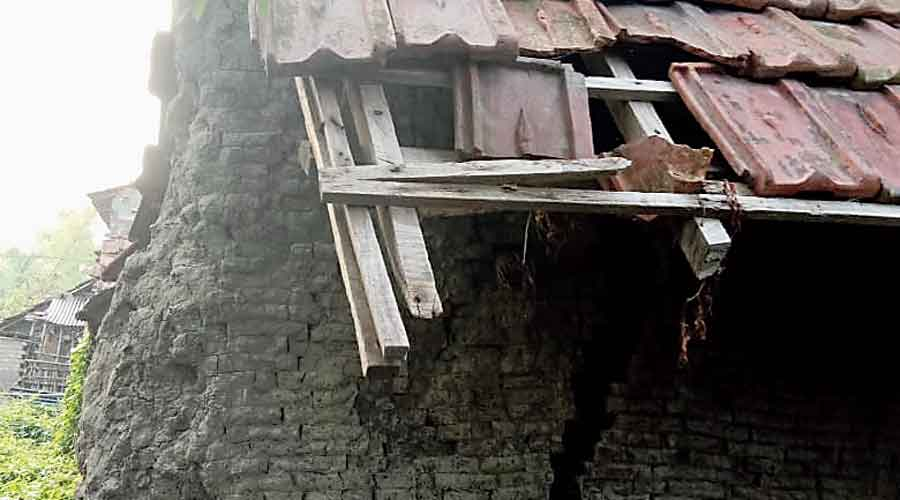 A house damaged by Amphan in Nandigram on Sunday