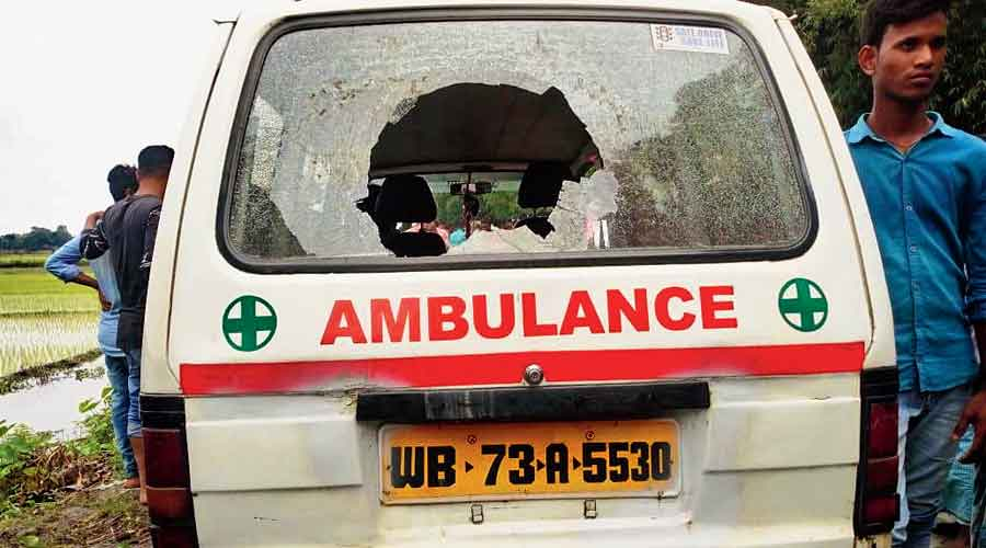 An ambulance ransacked  by protesters at Madhya Balabhut on Monday