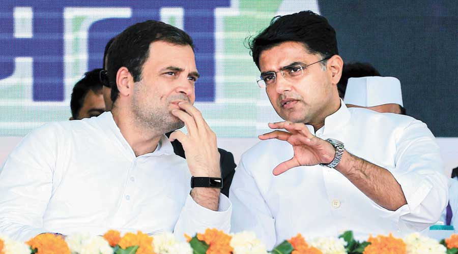 Rahul Gandhi and Sachin Pilot during a rally  in Jaipur in 2019.