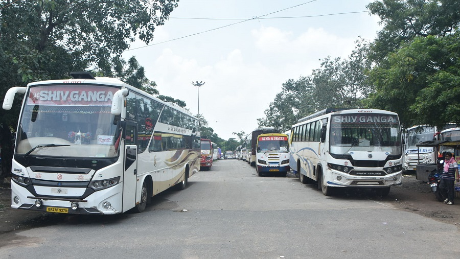 Buses parked at Bartand depot in Dhanbad.
