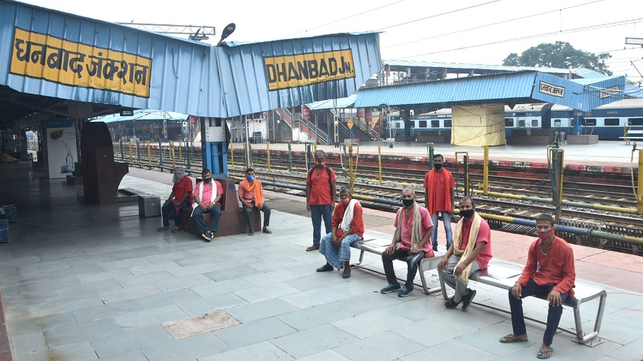 Porters at Dhanbad railway station on Tuesday.